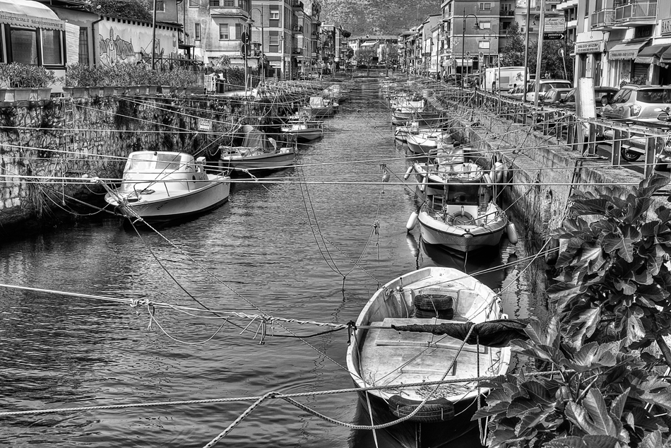 Terracina-Amato-landscape-seascape-summer-outdoor-boats-village-fishing-photo-monochrome